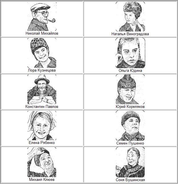 10 лиц с именами и фамилиями